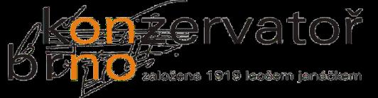 logo Konzervatoře Brno s nápisem založena 1919 leošem janáčkem